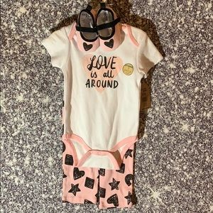 Girls 6-9 month 3 piece pink/black/white outfit